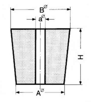 Slika za čep gumeni 18x24x30mm 2 rupe